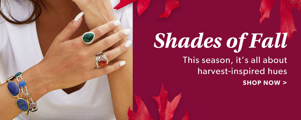 Shades of Fall. This Season, It's All About Harvest-Inspired Hues. Shop Now. Image Featuring Model Shot of Gemstone Jewelry