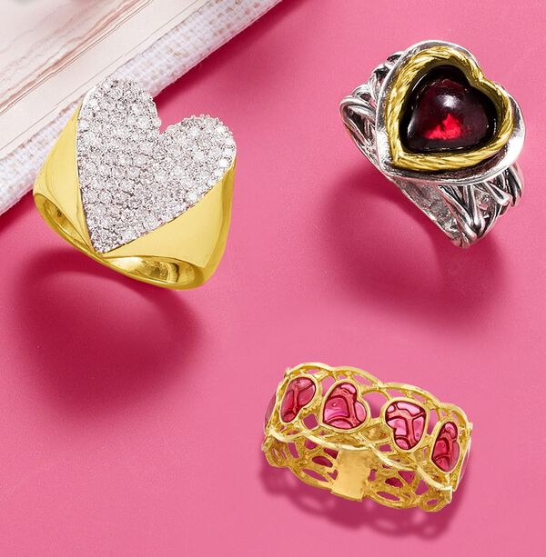Three Heart Rings on a pink background