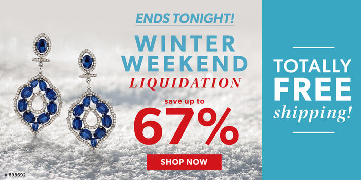 Ends Tonight! Winter Weekend Liquidation. Save Up To 67%. Totally Free Shipping! Shop Now. Image Featuring Gemstone Drop Earrings on White Snow