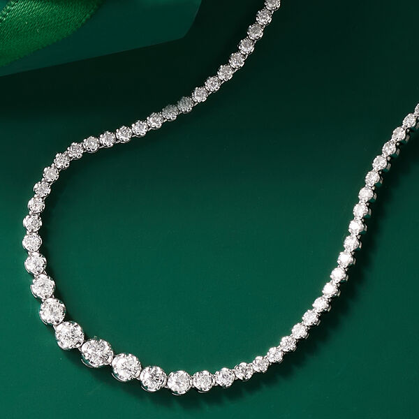 Classic Jewelry. Image Featuring Diamond Necklace on Green Background