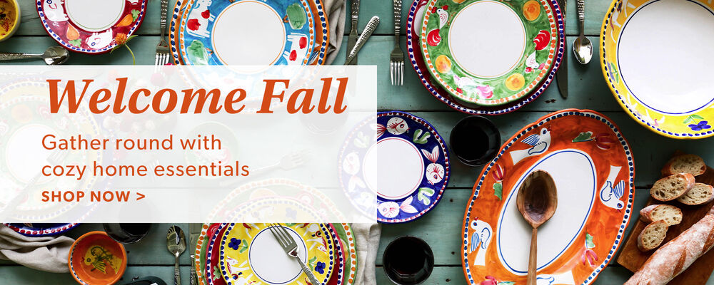 Welcome Fall. Gather Round With Cozy Home Essentials. Shop Now. Image Featuring Colorful Plates
