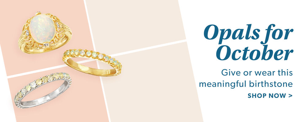 Opals for October. Give or Wear This Meaningful Birthstone. Shop Now. Image featuring Gold Opal Rings