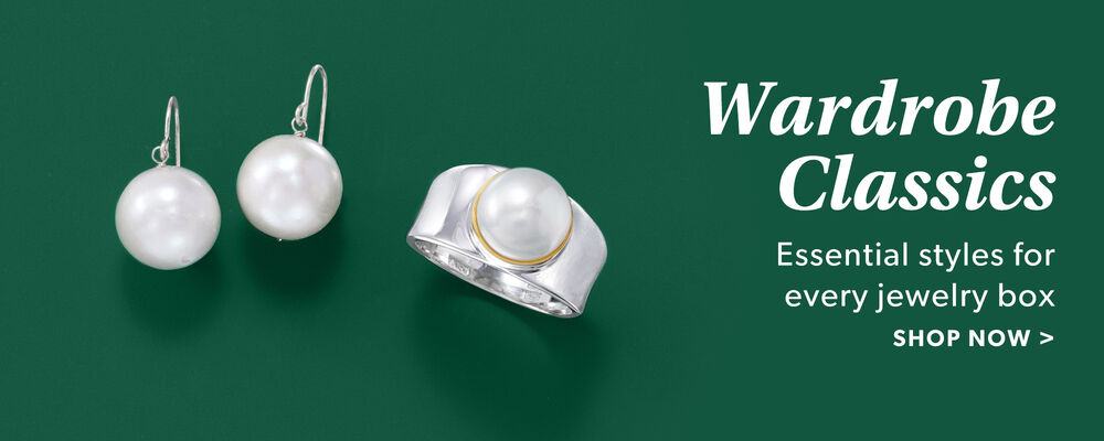 Wardrobe Classics. Essential Styles For Every Jewelry Box. Shop Now. Image Featuring Pearl Earrings and Ring on Green Background