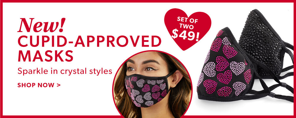 Sparkling Jeweled Masks. Stay Safe In Style. Shop Now. Image Featuring Jeweled Masks with pink hearts for valentine's day