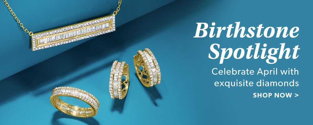 Birthstone Spotlight. Celebrate April With Exquisite Diamonds. Shop Now. Image Featuring Diamond Jewelry on Blue Background