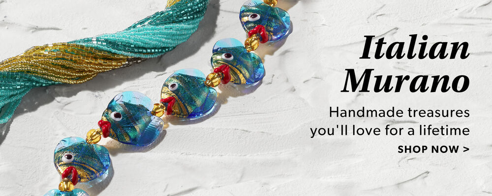 Italian Murano. Handmade  Treasures You'll Love For A Lifetime. Shop Now. Image Featuring Murano Necklaces on Marble Background