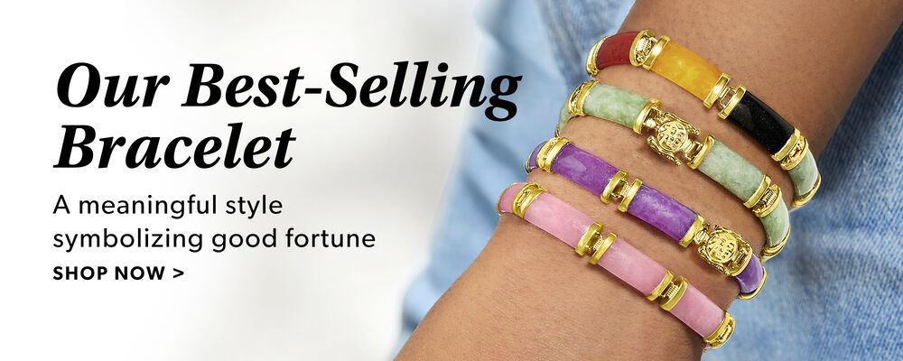 Our Best-Selling Bracelet. A Meaningful Style Symbolizing Good Fortune. Shop Now. Image Featuring Jade Bracelets on a Model's Arm
