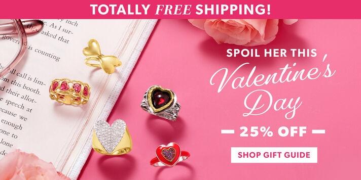 Totally Free Shipping! Spoil Here This Valentine's Day. 25% Off. Shop Gift Guide. Image Turing Assorted Jewelry on a Pink Background With an Open Book