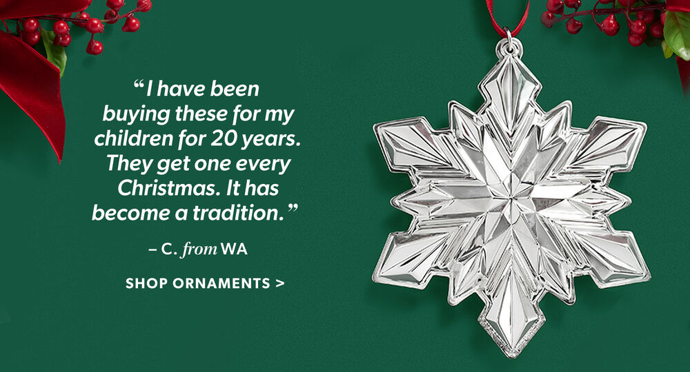 """I Have Been Buying These For My Children For 20 Years. They Get One Every Christmas. It Has Become A Tradition. - C, From WA. Shop Ornaments. Image Featuring Gorham 2020 51st Edition Sterling Silver Snowflake Ornament 616910"