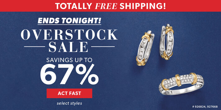 Totally Free Shipping! Ends Tonight! Overstock Sale. Savings Up To 67%. Act Fast. Select Styles. Image Featuring Diamond Ring and Earrings. 926824, 927668