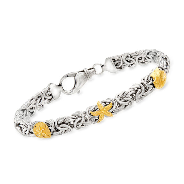 Byzantine Jewelry Featuring Sterling Silver Byzantine Sea Life Station Bracelet with 14kt Yellow Gold 933672