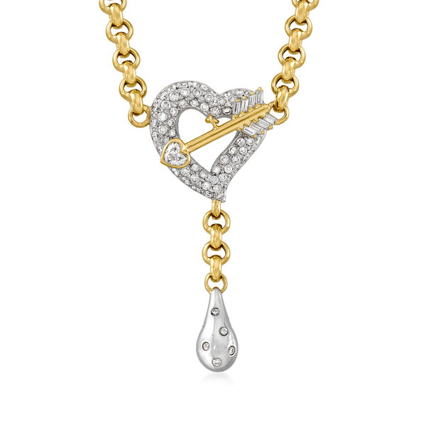 C. 1990 Vintage Unoaerre 2.68 ct. t.w. Diamond Heart and Arrow Drop Necklace in 18kt Two-Tone Gold. #942699