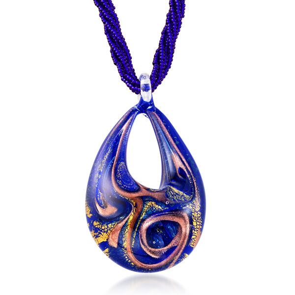 Italian Blue Murano Pendant Necklace in 18kt Gold Over Sterling #920590