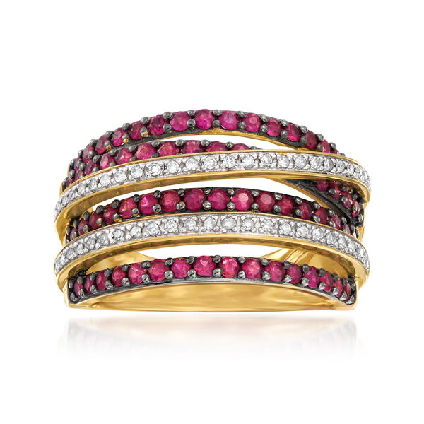 Birthstone Jewelry Featuring Ruby and Diamond Highway Ring in 18kt Gold Over Sterling 924909