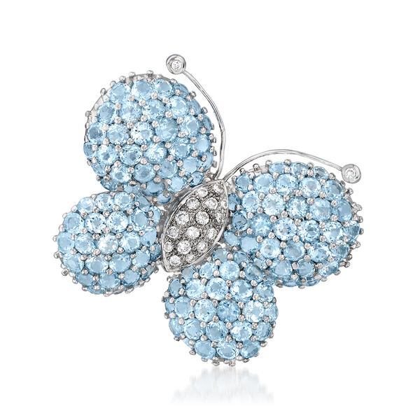 C. 1980 Vintage 15.50 ct. t.w. Swiss Blue Topaz and .40 ct. t.w. Diamond Butterfly Pin in 18kt White Gold #945701