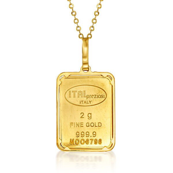 Italian 24kt Yellow Gold and 14kt Yellow Gold Two-Gram Ingot Bar Pendant Necklace #932766