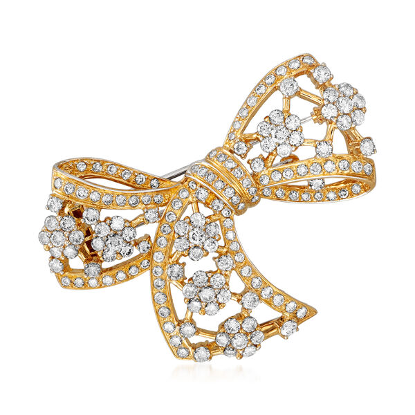 Estate Jewelry Featuring C. 1980 Vintage 5.48 ct. t.w. Diamond Bow Pin in 18kt Yellow Gold 934805