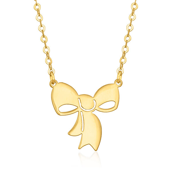 Italian 14kt Yellow Gold Bow Necklace #943193
