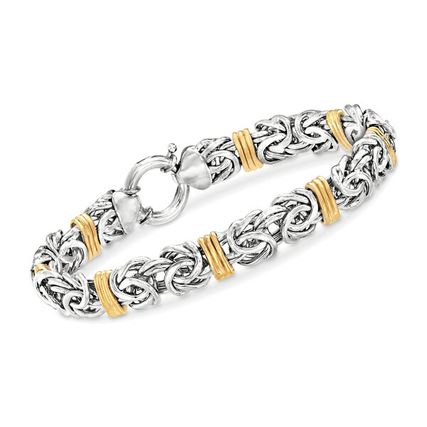 Byzantine Bracelet in Sterling Silver and Yellow Gold #906653