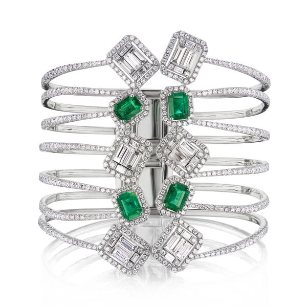 New Arrivals Featuring Diamond and 4.90 ct. t.w. Emerald Open-Space Bangle Bracelet in 18kt White Gold #938798