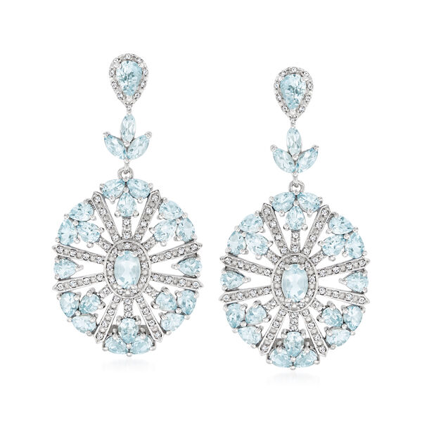 6.50 ct. t.w. Aquamarine and .56 ct. t.w. Diamond Drop Earrings in Sterling Silver #938777