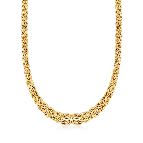 14kt Yellow Gold Graduated Byzantine Necklace #542691