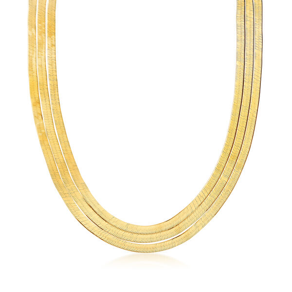 Italian Jewelry Featuring Italian 18kt Gold Over Sterling Layered Herringbone Necklace 932770