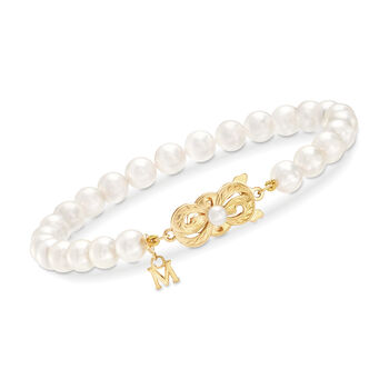 """Mikimoto 6-6.5mm 'A' Akoya Pearl Bracelet in 18kt Yellow Gold. 7"""""""