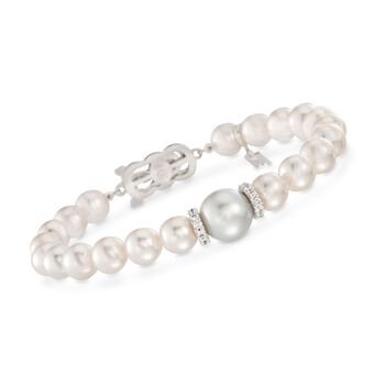 """Mikimoto Everyday 7-7.5mm A+ Akoya and 10mm South Sea Pearl Bracelet With .40 Carat Total Weight Diamonds in 18-Karat White Gold. 7"""""""