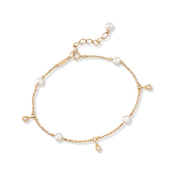 """Mikimoto 4.5mm A+ Akoya Pearl Station Bracelet With Diamond Accents in 18kt Yellow Gold. 7"""""""