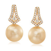 11.5-12mm Golden Cultured South Sea Pearl and .36 ct. t.w. Diamond Drop Earrings in 18kt Yellow Gold