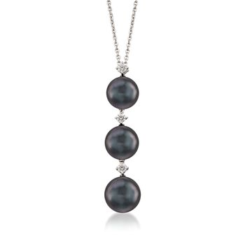 Mikimoto Black Cultured South Sea Pearl and Diamond Necklace in 18-Karat White Gold. 16""