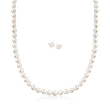 """Mikimoto 6-7mm A1 Akoya Pearl Necklace and Studs Set in 18-Karat Yellow Gold. 18"""""""