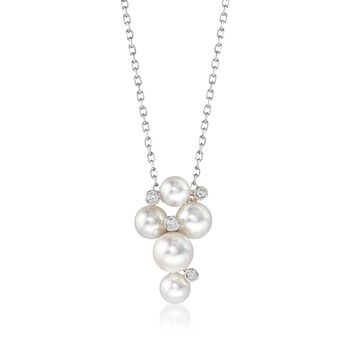 """Mikimoto Bubbles 4.7-6.2mm A+ Akoya Pearl Necklace With Diamond Accents in 18-Karat White Gold. 18"""""""