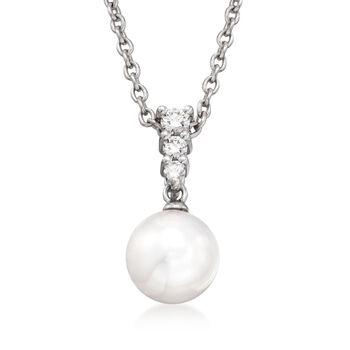 """Mikimoto 8mm Akoya Pearl and .12 Carat Total Weight Diamond Necklace in 18-Karat White Gold. 18"""""""
