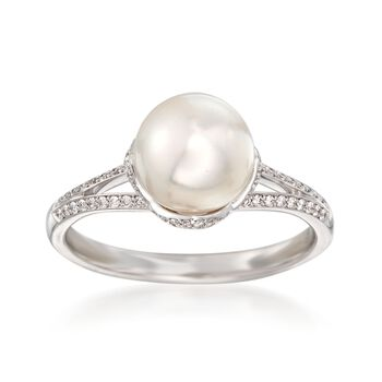 Mikimoto A+ Akoya Pearl and .19 Carat Total Weight Diamond Ring in 18-Karat White Gold. Size 7