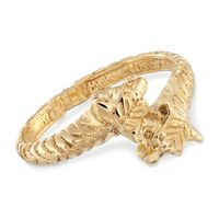 Italian 18kt Gold Over Sterling Silver Tiger Bypass Bangle Bracelet. 7&q..