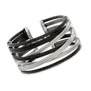 ALOR Noir Black and Gray Stainless Steel Crisscross Cable Cuff. 7""