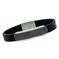 Men's Stainless Steel Bar Bracelet With Black Enamel and Leather. 8.5&a..