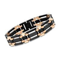 Men's Black and Rose Stainless Steel Link Bracelet With 1.10 ct. t.w. B..