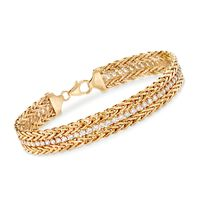 """2.65 ct. t.w. CZ and 14kt Yellow Gold Wheat Chain Bracelet. 7"""""""