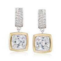 5.00 ct. t.w. Square Cushion-Cut CZ Drop Earrings in Sterling Silver and 14k..