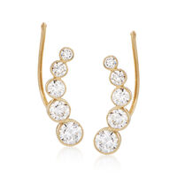 1.15 ct. t.w. Bezel-Set CZ Curved Ear Climbers in 14kt Yellow Gold