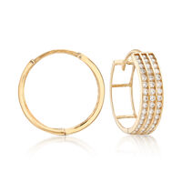 .65 ct. t.w. CZ Three-Row Hoop Earrings in 14kt Yellow Gold. 5/8""