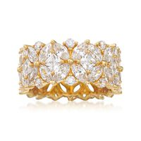 7.65 ct. t.w. Multi-Cut CZ Floral Eternity Band in 18kt Gold Over Sterling. ..