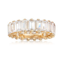 6.00 ct. t.w. Baguette CZ Eternity Band in 18kt Yellow Gold Over Sterling Si..