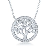 """.60 ct. t.w. CZ Tree of Life Necklace in Sterling Silver. 16.5"""""""