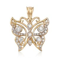 .45 ct. t.w. CZ Butterfly Pendant in 14kt Yellow Gold