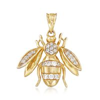 .39 ct. t.w. CZ Bee Pendant in 14kt Yellow Gold