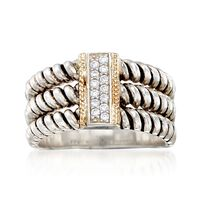 "Image of "".10 ct. t.w. CZ Three-Row Ring in Sterling Silver and 14kt Yellow Gold . Size 8"""
